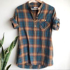 UO Lark & Wolff Plaid ¾ Roll Up Sleeve Top